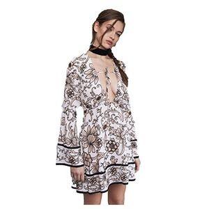 For Love & Lemons Ayla White Floral Mini Dress
